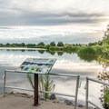 One of the accessible fishing platforms on Pelican Pond.- St. Vrain State Park Campground