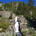 Continental Falls cascades along the long uphill climb to Mohawk Lakes.- Mohawk Lakes