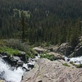 Continental Falls drops steeply toward the valley below.- Mohawk Lakes