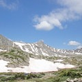Pacific Peak (13,957'), seen in the distance.- Mohawk Lakes