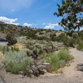Parking area and trailhead for the Steamboat Ditch Trail.- Steamboat Ditch Trail