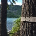 Trail around the shoreline.- Kinnikinnick Campground