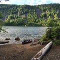 Laurance Lake viewed from Kinnikinnick Campground.- Kinnikinnick Campground