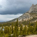 Cathedral Peak near Tuolumne Meadows with weather approaching.- John Muir Trail Section 1