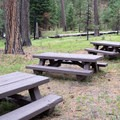 Group campsite picnic tables.- Ochoco Divide Campground