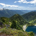 Lower Thornton Lake and the Skagit River Valley.- Thornton Lakes Trail + Trappers Peak