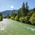 View west of the Skagit River from the bridge adjacent to Goodell Creek Campground.- Goodell Creek Campground + Group Sites