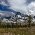 A storm develops over Mount Banner and Mount Ritter at Thousand Island Lakes. Afternoon thunderstorms are very common in the Sierra.- John Muir Trail Section 1