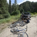 Getting ready at the Red Warrior Trailhead.- South Fork of Warm Springs to Red Warrior