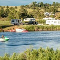 The occasional jet ski breaks the quiet.- Granite Springs Reservoir Campgrounds