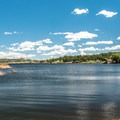 View of the South Causeway campsites.- Granite Springs Reservoir Campgrounds