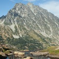 Mount Stuart (9,416') can be seen from Ingalls Pass.- Mount Stuart: West Ridge