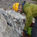 A climber prepares to ascend the long Class 3 and 4 section of the West Ridge of Mount Stuart. - Mount Stuart: West Ridge