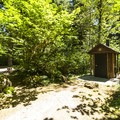 Vault toilet at Shannon Creek Campground.- Baker Lake, Shannon Creek Campground