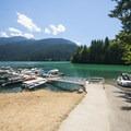 Boat dock and marina at Swift Creek Campground.- Baker Lake, Swift Creek Campground