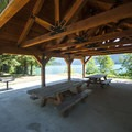 Day use picnic area shelter at Swift Creek Campground.- Baker Lake, Swift Creek Campground