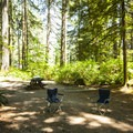 Typical campsite at Swift Creek Campground.- Baker Lake, Swift Creek Campground
