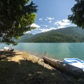 Day use are and pebble beach at Panorama Point Campground.- Baker Lake, Panorama Point Campground