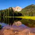 South Mountain and the Medicine Lakes in early light.- La Sal Pass