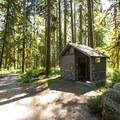 Vault toilet facility at Boulder Creek Campground.- Boulder Creek Campground