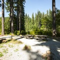 Group campsite at Boulder Creek Campground.- Boulder Creek Campground