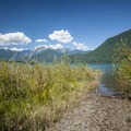 The narrow footpath leading to Baker Lake from the campsite is ideal for small watercraft put-ins.- Baker Lake, Bayview North Group Campsite