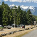 Kulshan Campground's eastern section and Mount Shuksan (9,131') in the distance.- Baker Lake, Kulshan Campground