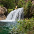 Cliff jumping from above the falls is popular, but the deep spot is not a wide target, so use caution.- Fossil Creek