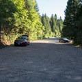 The parking lot.- Hatchet Falls / Lion Slide Falls