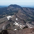 Looking at Brokeoff Mountain (9,235') and other smaller peaks from the trail.- Lassen Peak
