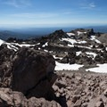 Looking into the caldera from the highest point.- Lassen Peak