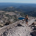 The hike has great views of the surrounding park.- Lassen Peak