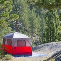 Campsite overlooking the Carson River.- Hope Valley Resort + Campground