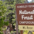 Mount Rose Campground sign.- Mount Rose Campground