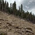 Landslide crossing at 0.75 miles.- Twin Sisters Peak Hike