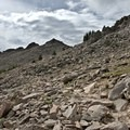 Talus field crossing after the saddle has been reached.- Twin Sisters Peak Hike