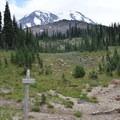 The Pacific Crest Trail beneath Mount Adams (12,281'). - Mount Adams: High Camp via Killen Creek