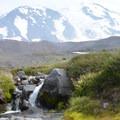 Mountain stream (High Camp) with Mount Adams (12,281').- Mount Adams: High Camp via Killen Creek