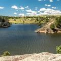 Nice views of the lake abound.- North Crow Reservoir Loop
