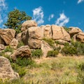 Interesting granite outcroppings add to the scenic value.- Lariat Trail + Stone Temple Circuit
