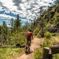 On the Stone Temple Circuit, watch for bikes!- Lariat Trail + Stone Temple Circuit