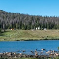 View of the campground from across the lake.- Brooklyn Lake Campground