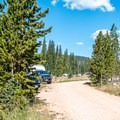 The North Fork of the Little Laramie River runs next to the campground.- North Fork Campground