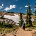 Still snowfields in July!- Twin Lakes Hike via Sheep Lake Trail