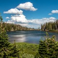 One of the beautiful lakes on this trail.- Twin Lakes Hike via Sheep Lake Trail