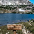 Beautiful Lewis Lake at the trailhead.- Shelf Lakes Hike via Gap Lakes Trail