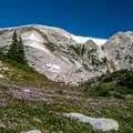 The trail begins through wonderful wildflower fields around the lake.- Medicine Bow Peak via Lewis Lake Trailhead