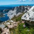 Now comes the steep trip down.- Medicine Bow Peak via Lewis Lake Trailhead
