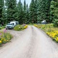 The campground road is gravel, but it is in decent shape.- Dumont Lake Campground