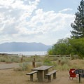 Site with a lake view.- Nevada Beach Campground